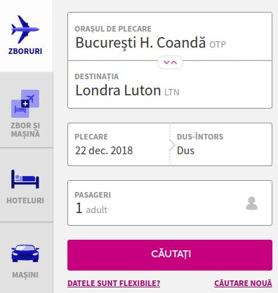 Screenshot WizzAir.com cu formularul de căutare