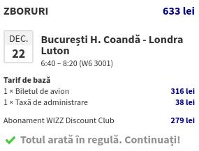 WizzAir - Screenshot prețuri zbor și servicii
