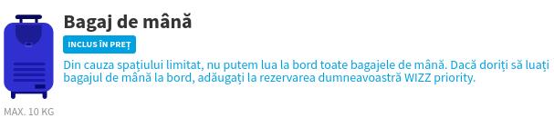 Screenshot site WizzAir cu atenționarea privind bagajul de mână