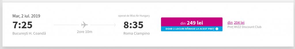 Wizz Air - preț zbor unde se observă prețul normal și prețul cu reducere