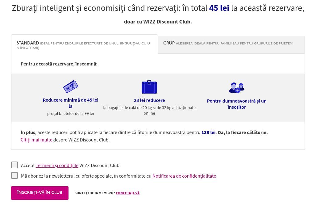 WizzAir - Screenshot beneficii Discount Club Standard