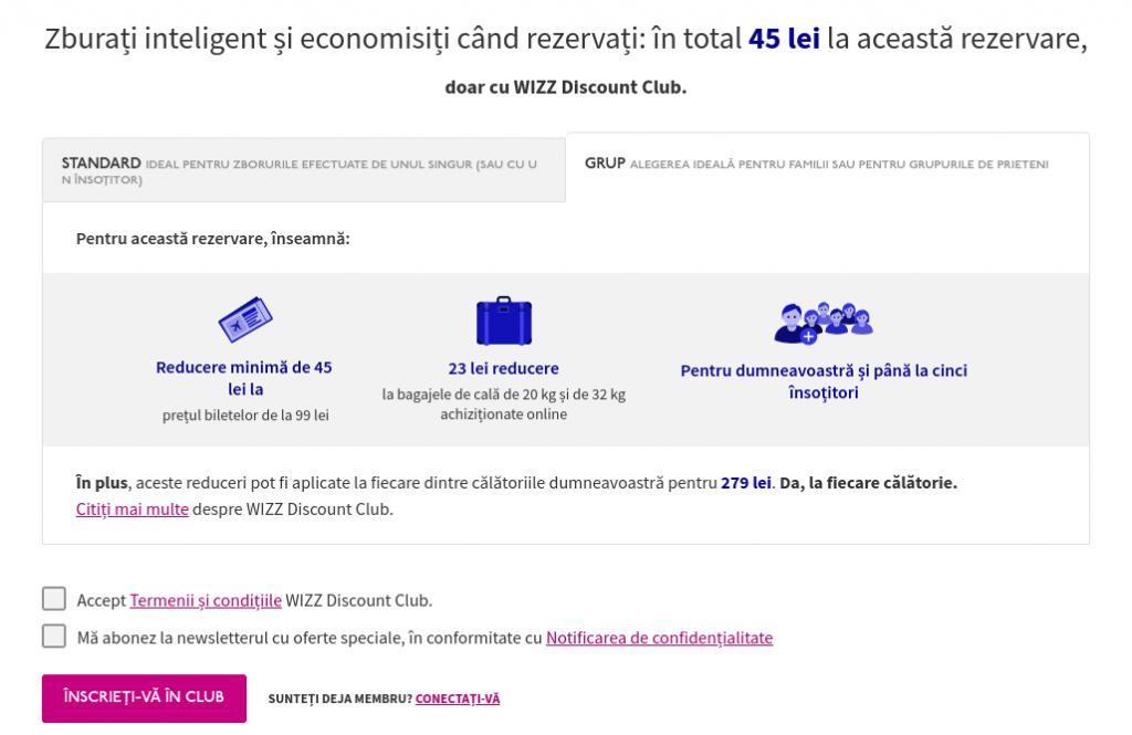 WizzAir - Screenshot beneficii Discount Club Grup