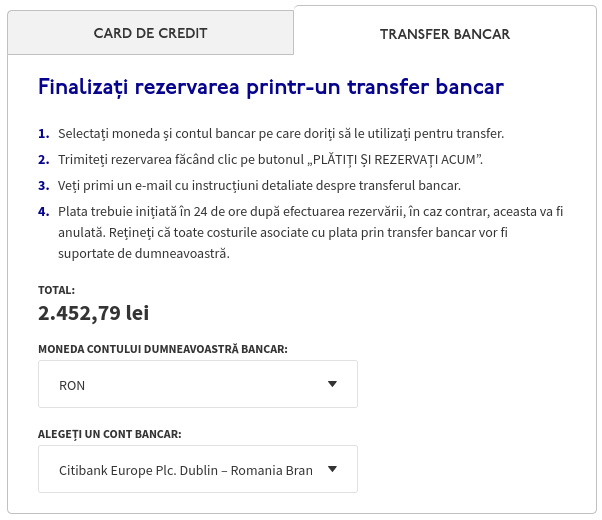 Alegerea monezii de plată pentru transfer bancar și suma de plată în lei la WizzAir