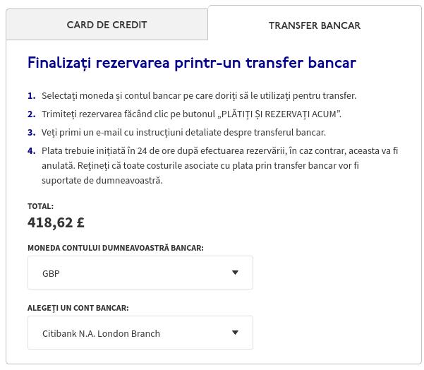 Alegerea monezii de plată pentru transfer bancar și suma de plată în lire sterline la WizzAir