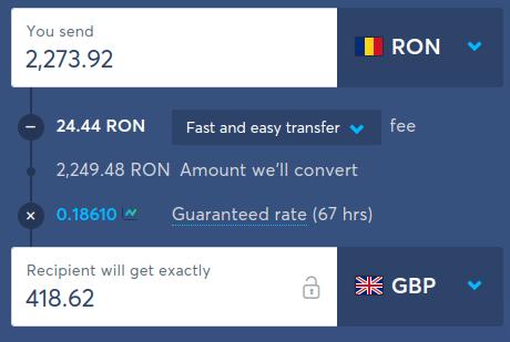 Conversia din lei în lire sterline pe TransferWise (web app)